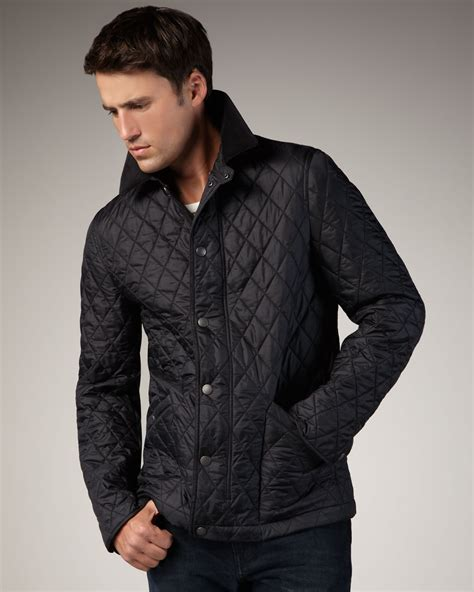 quilted jacket mens burberry brit classic quilted jacket in black for lyst