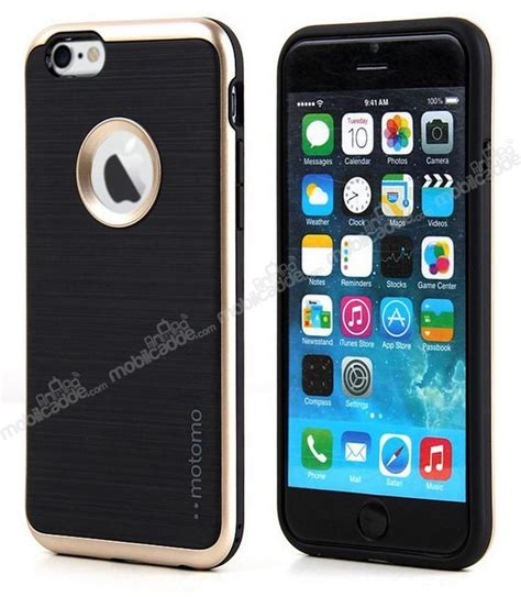 motomo iphone 6 plus 6s plus gold kenarlı siyah silikon