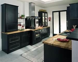 photos de cuisine repeinte 13 indogate cuisine noire With porte d entrée alu avec joint silicone salle de bain noir