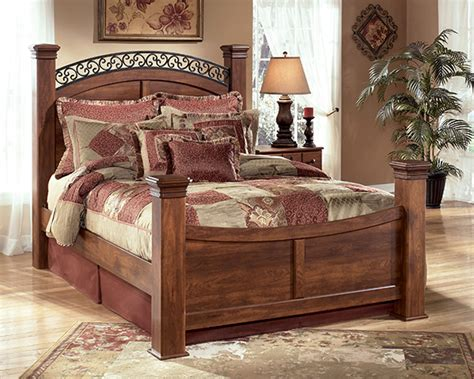 timberline  piece poster bedroom set  cherry lowest