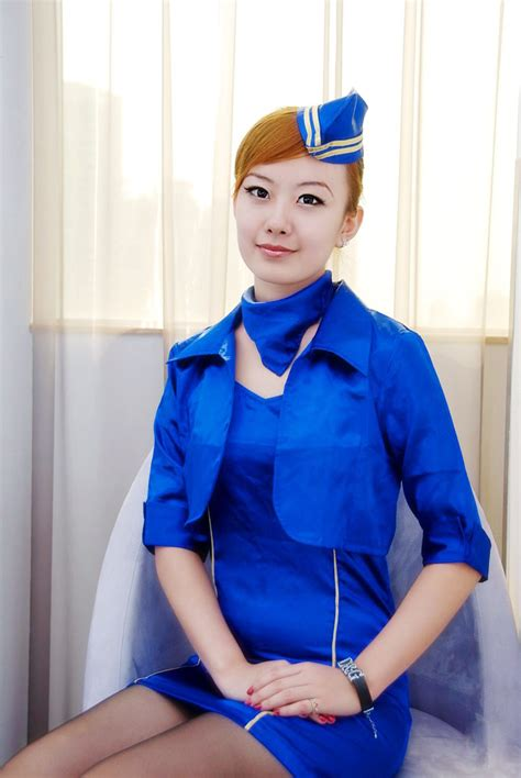 Pretty Stewardess Costume In Blue Uniform ~ World Stewardess Crews