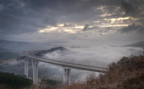 high bridge clouds scenic fog wallpapers high bridge