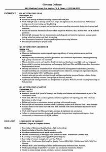 qa automation resume samples velvet jobs With automation resume