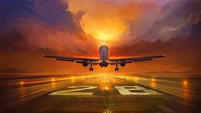 Plane Runway Sunset Background Flying 1920 Sky