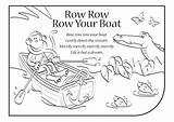 Row Boat Coloring Lyrics Clipart Colouring Pages Rhymes Songs English Template Stream Down Clip Library Popular sketch template