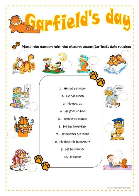 garfields daily routine worksheet  esl printable