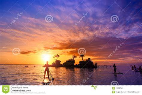 Bali Indonesia Beautiful Sea Beach At Sunset Stock Photo