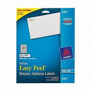 Avery 8167 white easy peel return address labels 1 2 x 1 for Avery return address labels 8167