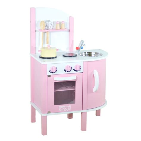 pretend kitchen accessories childrens pink wooden kitchen with 5 1645