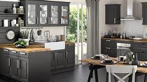 davausnet cuisine grise et plan de travail bois avec With cuisine grise plan de travail bois