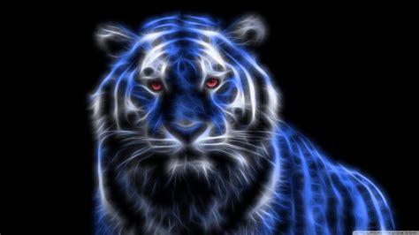 Glowing Animal Wallpaper - 3d blue glowing tiger wallpaper