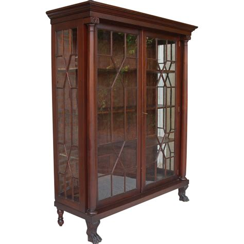 antique breakfront china cabinet antique american empire revival mahogany breakfront china