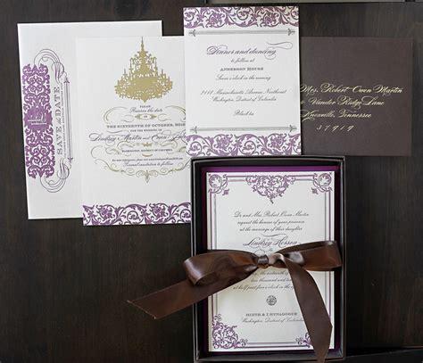 Lindsey + Evan's Gilded Formal Wedding Invitations