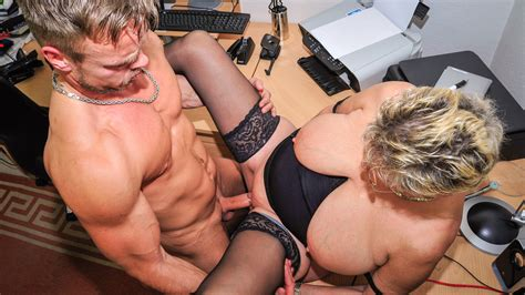 dirty german granny angelika j gets boned and covered in cum at the office porndoe