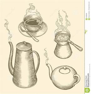 Hot Coffee, Hot Tea, Cup. Hand-drawn Illustration. Vintage ...