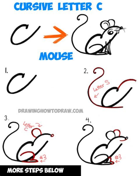 How To Draw A Cartoon Mouse From Cursive Letter A Shape  Drawing Tutorial For Kids Drawing