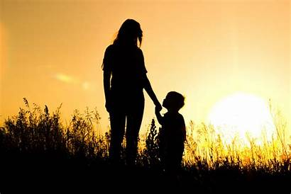 Son Mother Sun Sunset Dog Silhouettes Wallpapers