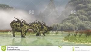 Gigantspinosaurus Dinosaurs Stock Illustration