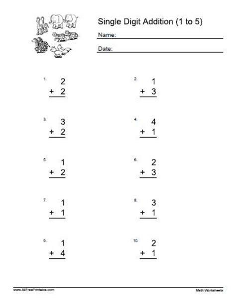 single digit addition worksheets vertical worksheets for