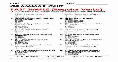 Grammar Quiz Past Simple Verbs Regular