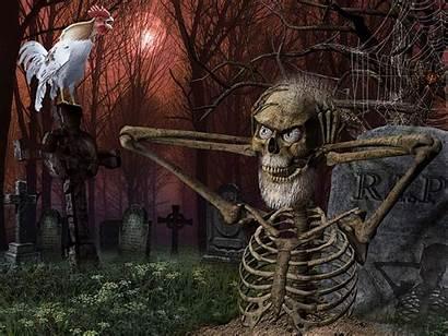 Halloween Funny Dark Humor Cemetery Skulls Skeleton