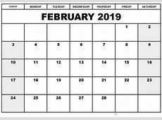 Download February 2019 Calendar A4 Printable Free