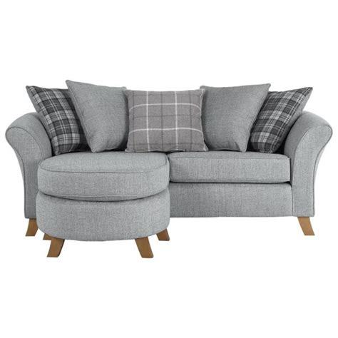 argos settee buy collection 3 seater fabric chaise sofa grey at