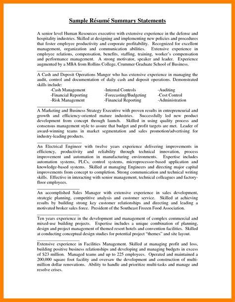 9 sle accounting resume self introduce summary statement for resume 28 images summary
