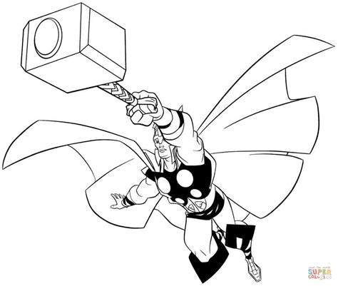 Kleurplaat Thor by Thor The Asgardian God Of Thunder Coloring Page Free