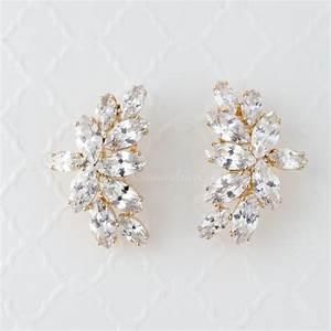 cz bridal earrings of marquise leaf clusters lynne