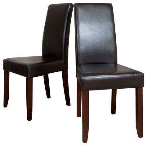 Parsons Dining Chairs 2 Pk by Acadian 2 Pack Brown Faux Leather Parson Chair