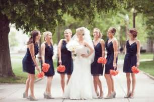 navy bridesmaid picture of navy and a blush of coral wedding color palette ideas