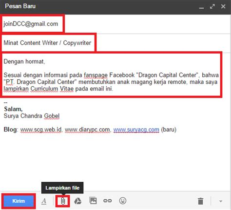 Cara Nulis Di Lop Lamaran Kerja by Contoh Cara Mengirim Surat Lamaran Kerja Via Email