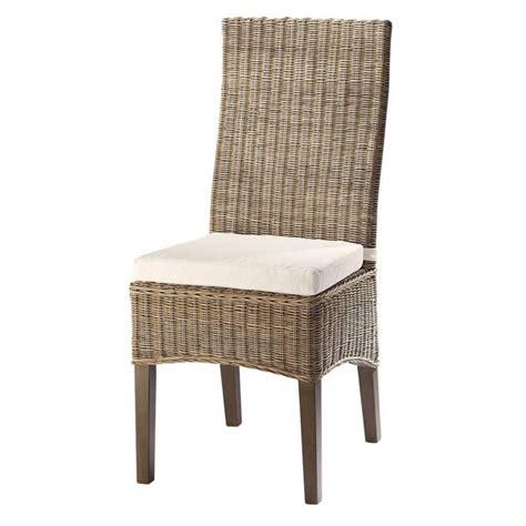 chaise en rotin et mahogany massif hton maisons du monde