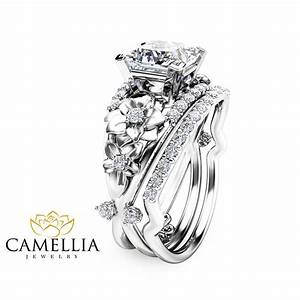 floral moissanite engagement ring set princess cut moissanite With floral wedding ring set
