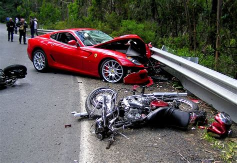 Ferrari 599 Driver Crashes Into Motorbike Riders And Keeps