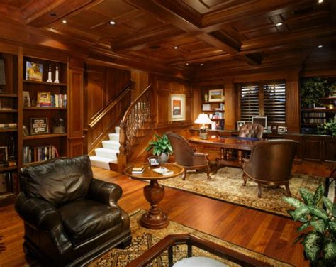 wood paneling adds elegance  warmth   home office