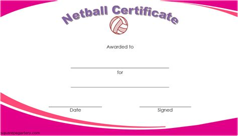 netball certificate templates  great template designs
