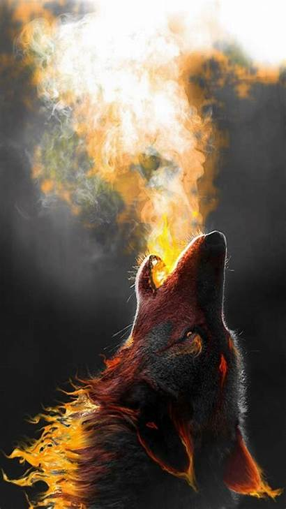 Wolf Fire Wallpapers Howling Wallpaperplay