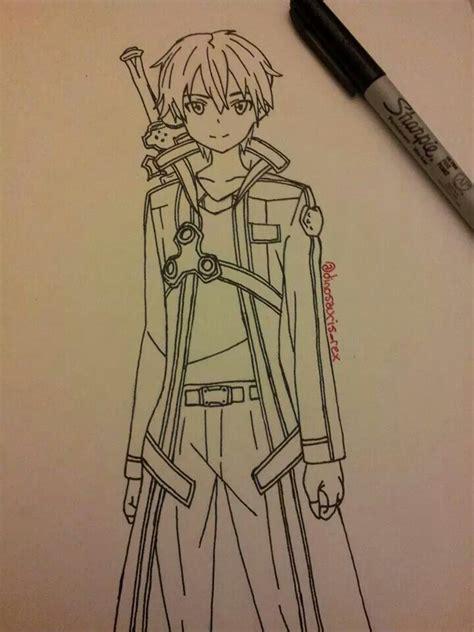 kirito drawing sketch sword art  drawing ideas
