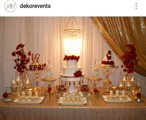 gold white  red engagement party dessert table