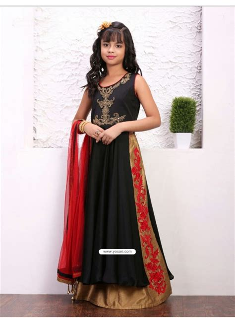 buy glossy black taffera silk dress indowestern dresses