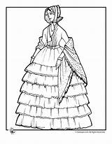 Coloring Victorian Pages Adult Doll Woman Dress Print Colouring Fashioned Dresses Books Ruffled Dolls Victoria 1800 Printable Lady Sheets Young sketch template