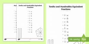 Tenths And Hundredths Equivalent Fractions Worksheet