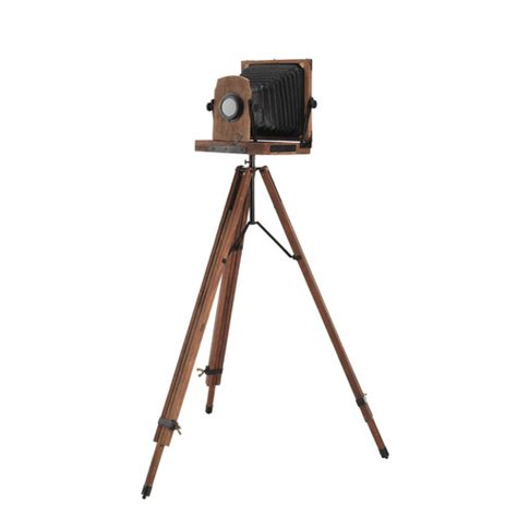 appareil photo chambre appareil photo décoratif sur pied en bois et métal noir h