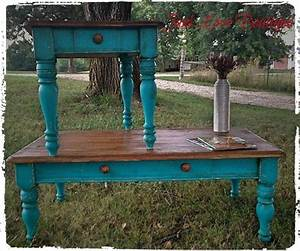 teal turquoise end table and coffee table junk love With rustic teal coffee table