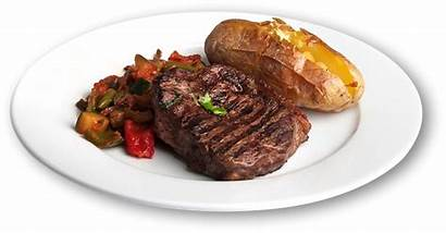 Steak Dinner Plate Potato Baked Dining Burger