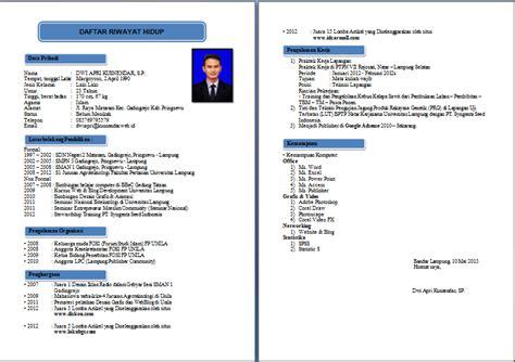 Format Curriculum Vitae Untuk Beasiswa Example Good Resume Template