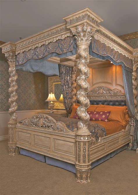silver leaf finish the renaissance canopy bed cal king 39 s best