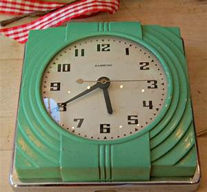 vintage art deco jade green color hammond prudence kitchen With kitchen colors with white cabinets with art nouveau wall clock